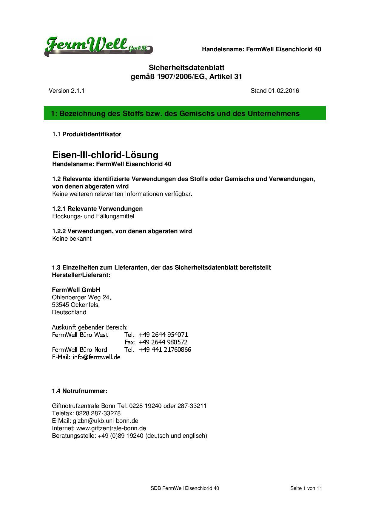 FWG_Eisenchlorid_40 Sicherheitsdb_161129